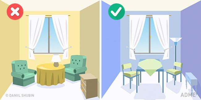 Диван или кровать, журнальный столик, комод, шкаф— вся мебель должна «парить» над полом, ане«врас