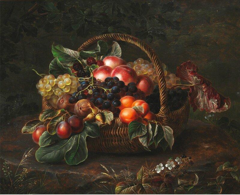 Осенняя корзина с фруктами