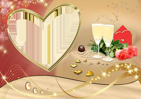 Рамка в виде сердца с букетом розовых роз, бокалами с шампанским и конвертом с сердечком