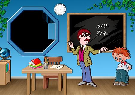 Школьная рамка для фото с учителем мужчиной и учеником около доски в классе