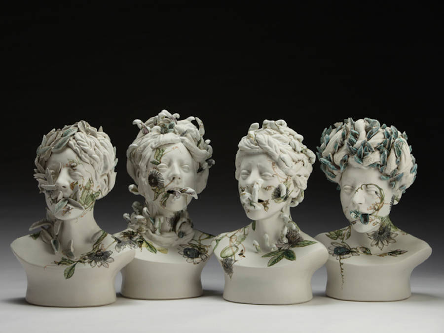 Delicate Ceramic Busts in Bloom