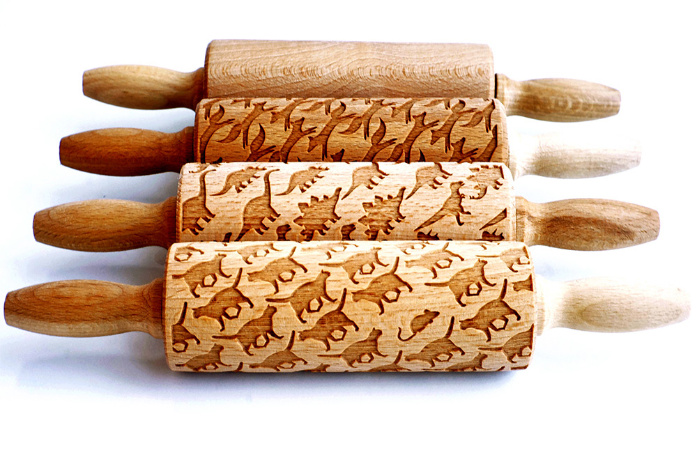 New Laser Engraved Rolling Pins by Valek Imprint Elaborate Designs on Baked Goods