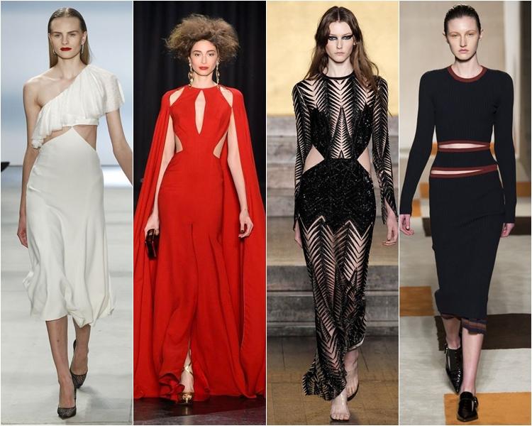 платья с вырезами, мода осень-зима 2016-2017