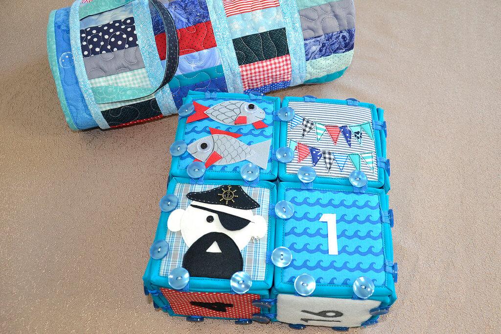 морские кубики текстильный набор покрывало торба (7).JPG