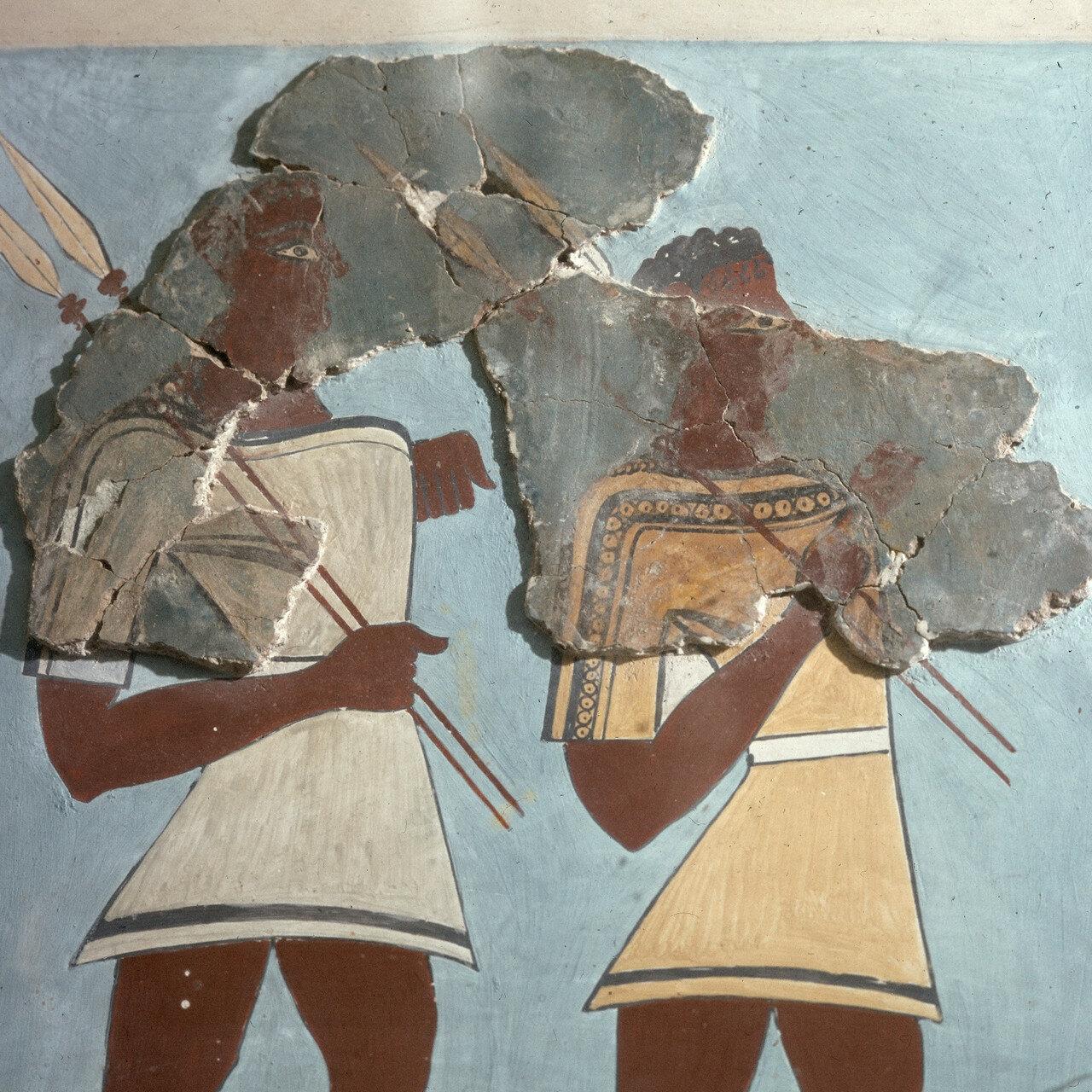 Афины, Национальный археологический музей. Процессия воинов, XIII в. до н.э  Фрагмент фрески из старого дворца Тиринфа