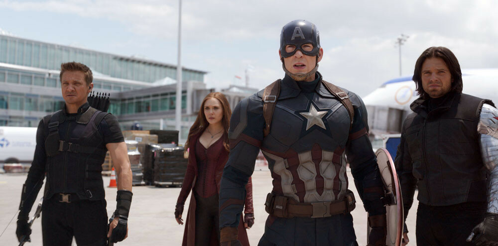 Marvel's Captain America: Civil WarL to R: Hawkeye/Clint Barton (Jeremy Renner), Scarlet Witch/Wanda Maximoff (Elizabeth Olsen), Captain America/Steve Rogers (Chris Evans), and Winter Soldier/Bucky Barnes (Sebastian Stan)Photo Credit: Film Frame