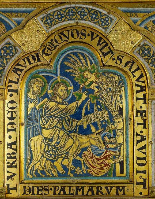 Вход Господень в Иерусалим. Эмаль. Николай Вердунский. 1181 г..jpg
