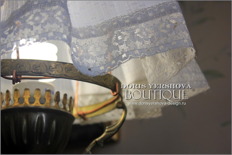 абажур для винтажной лампы из латуни, интерьер, дизайн, декор, детали интерьера, декор светильников, шитый абажур, сшить абажур, простой абажур, быстро и просто сшить абажур, абажур их ткани и кружев, блог Дорис Ершовой, фото Дорис Ершовой