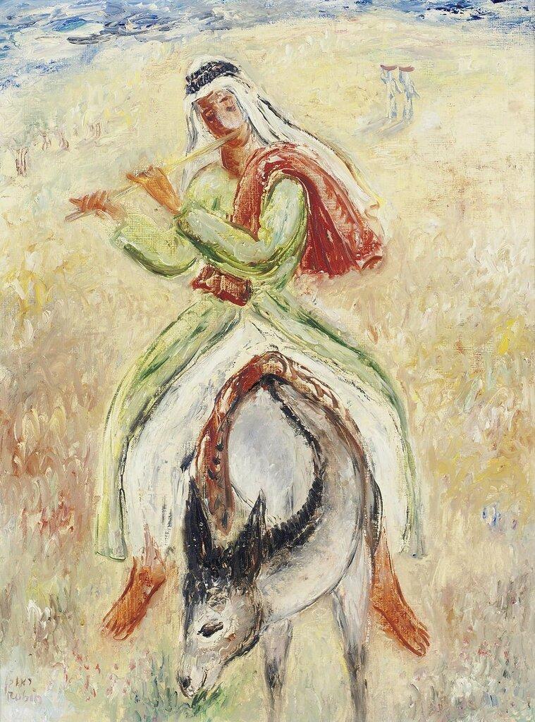 Flute Player on Donkey, 1950s.jpeg