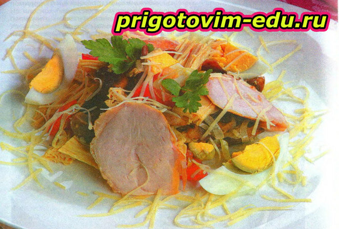 Грибной салат с корейской спаржей
