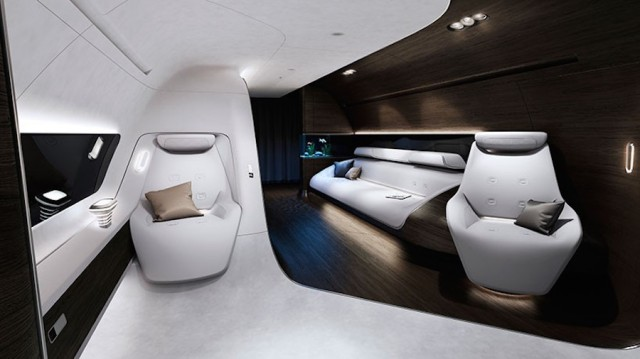 Luxurious and Warm Aircraft Cabin