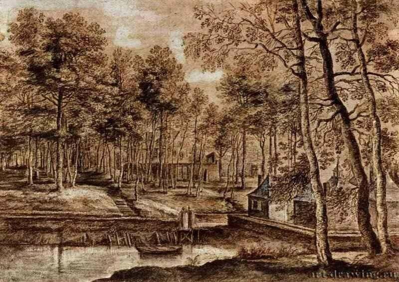 Лукас ван Уден монастырские постройки в лесу 17 в.jpg