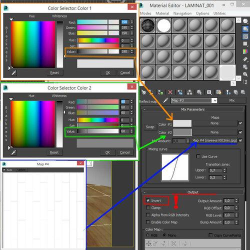 ламинат под V-Ray - настройки карты Mix отражения