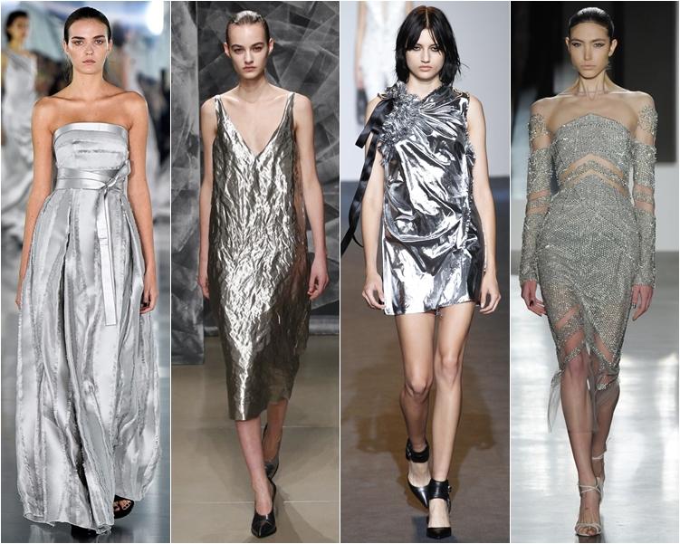 модный фасон платья 2016: серебристые платья