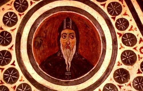 Святой Преподобный Лука Елладский (Элладский). Фреска монастыря Осиос Лукас (Преподобного Луки), Греция. 1030 - 1040-е годы.