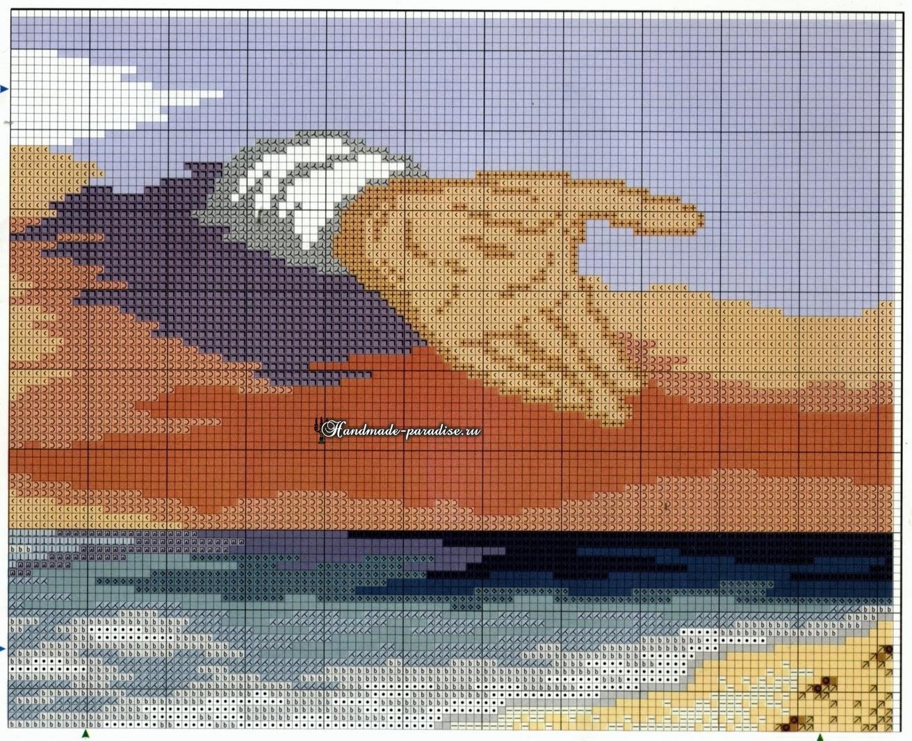 Схема вышивки Следы на песке