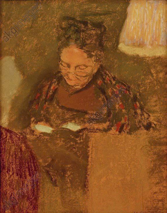 E.Vuillard, Madame Vuillard....lesend - E.Vuillard, Madame Vuillard Reading -