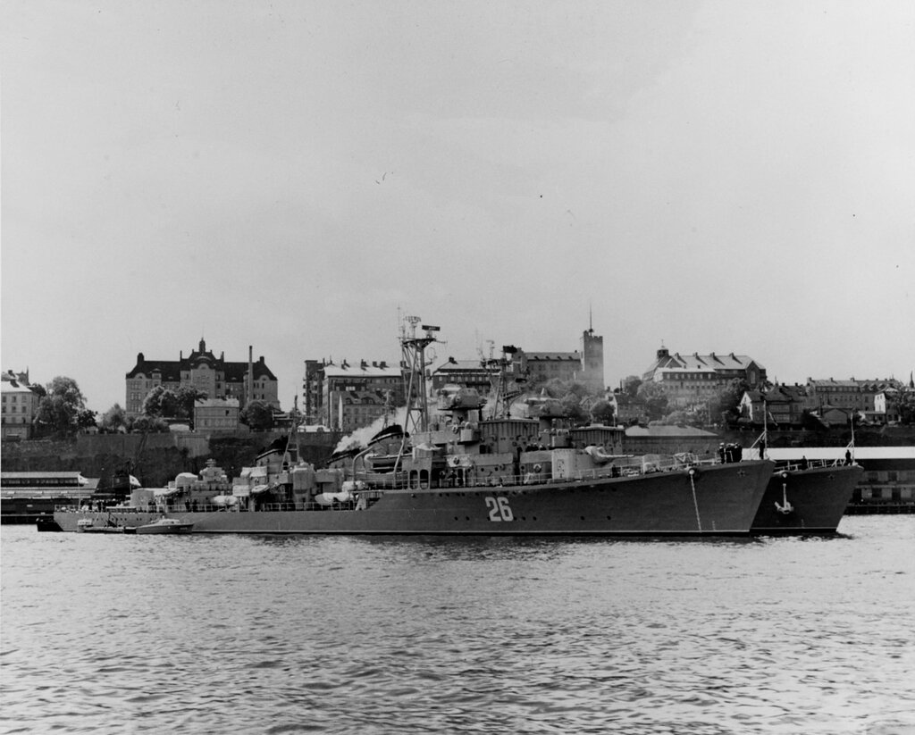SUROVYI, Soviet Destroyer. Photographed on 17 July 1954 at Stockholm, Sweden. The Destroyer SEREZNYI (Pennant number 31) appears behind SUROVYI.