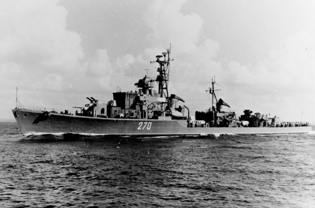 Soviet SKORYY Class Destroyer, photographed during August 1960 in the Eastern Mediterranean Area.