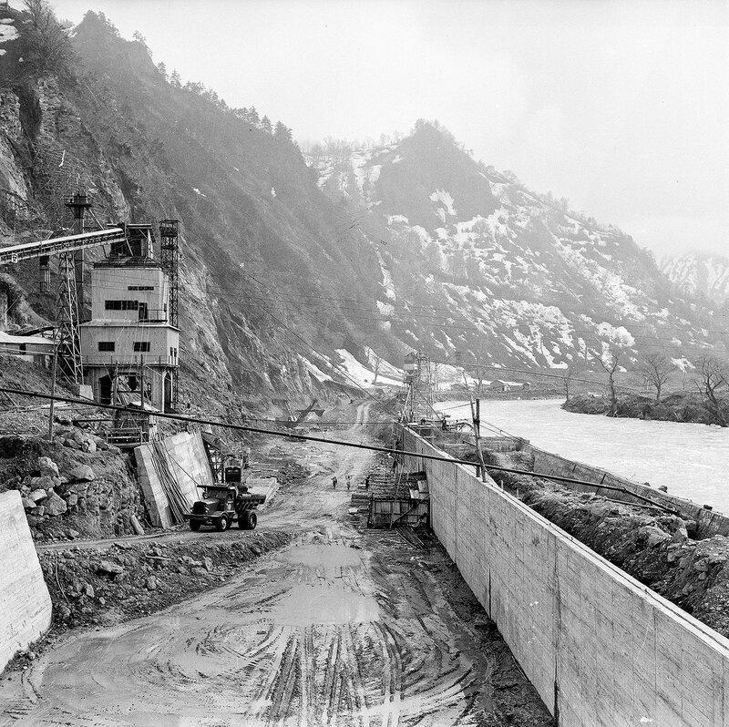 River Construction Site - 1950s Japan