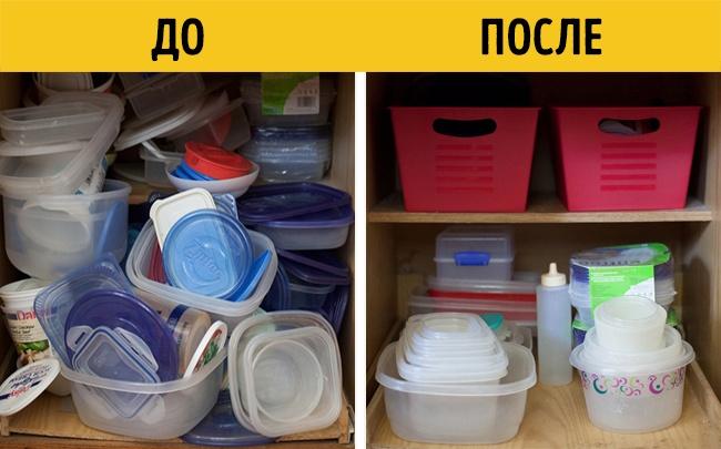 Для хранения мелких контейнеров удобно использовать большие корзинки. Как показано тут .