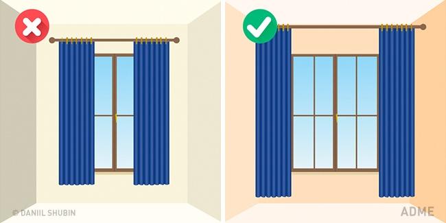 Если повесить шторы ненад самими окнами, аближе кпотолку, окна будут казаться больше, чем есть на
