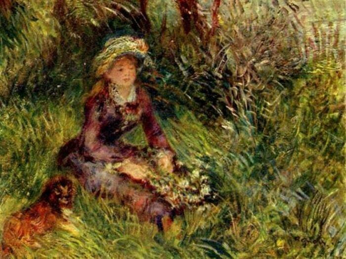 Огюст Ренуар. Мадам Ренуар с собакой, 1880