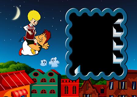 Фоторамка с Малышом и Карлсоном, летящими над крышами домов по ночному небу