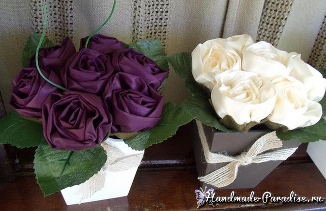 Букет роз из ткани