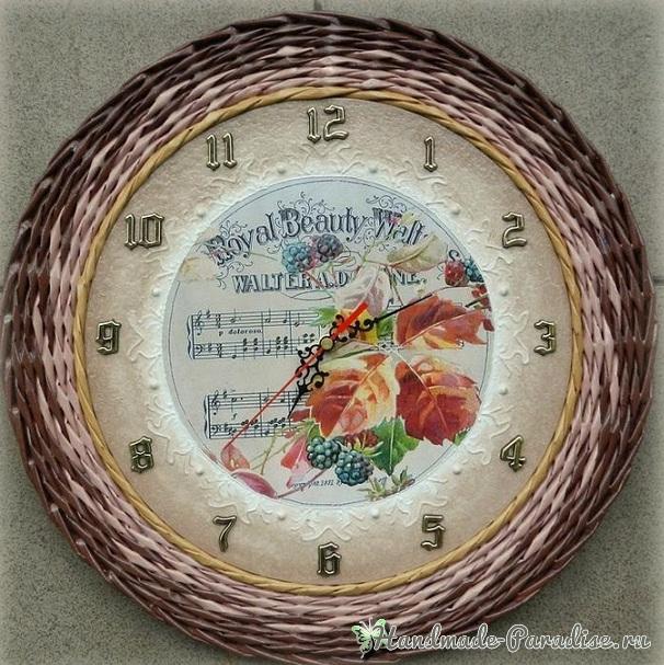 Плетение из газет настенных часов