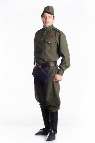 Мужской карнавальный костюм Военная форма с сапогами