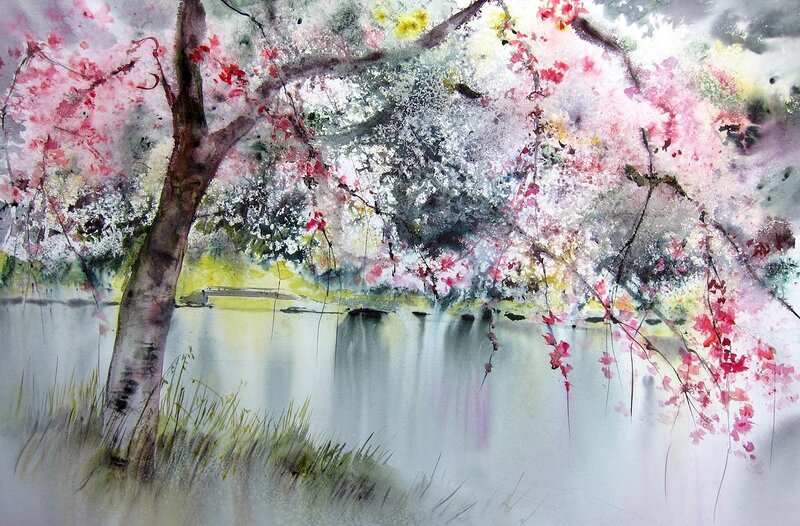 Я  жду  тебя, Весна, когда  ты  вновь  придёшь и розовым цветком на  яблонях  замрёшь Reine Marie Pinchon