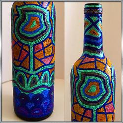 Бутылка декоративная интерьерная с росписью
