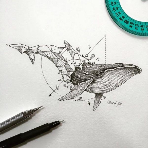 Животные, нарисованные геометрическими фигурами (12 фото)