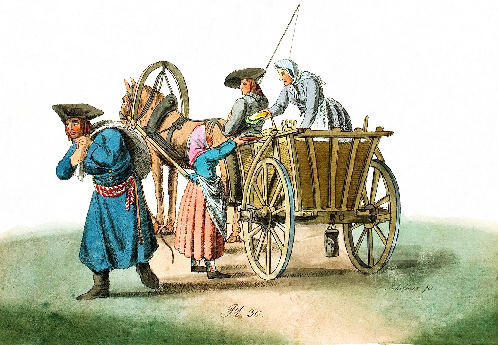30. Deutschen Kolonisten, die ihren Wagen abladen / �������� ���������, ����������� ����� � ������
