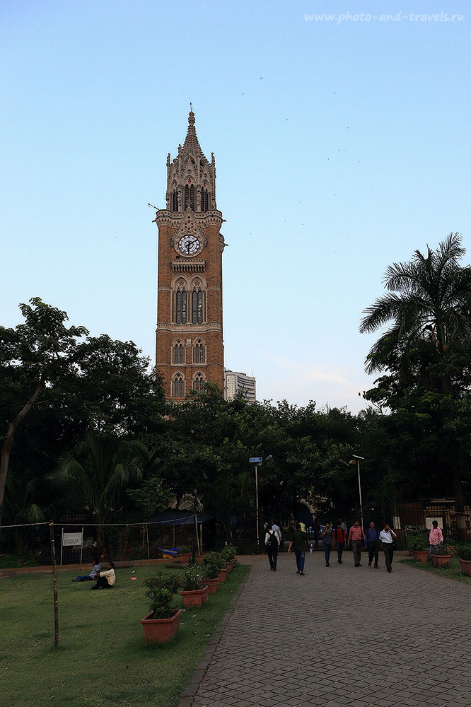 Фотография 31. Биг-Бен (Rajabai Clock Tower) со стороны крикетного поля. Отзыв о поездке в Мумбаи во время большого путешествия по Индии. (1300) (24-70, 1/100, -1eV, f9, 24 mm, ISO 320)