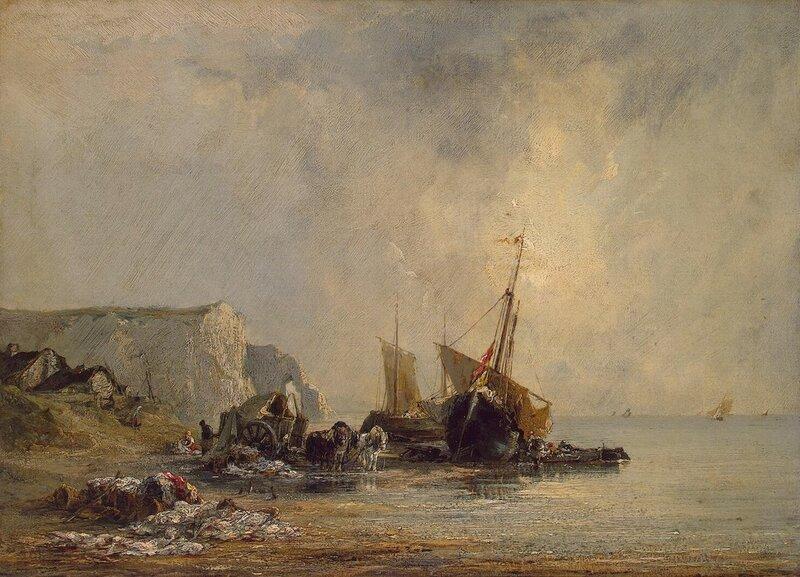 Ричард Паркс Бонингтон, Лодки у берегов Нормандии, холст, масло, 34x46, 1823 г.
