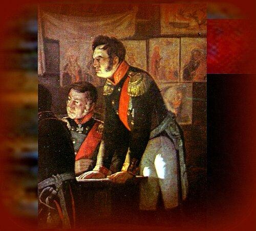 Напряжённость момента. Генерал А.П.Ермолов, изображён в профиль, стоящим... Фрагмент картины А. Кившенко Военный совет в Филях (1880) Kutuzov fili .jpg