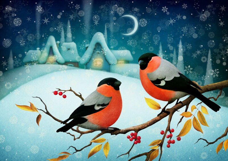 обои-живопись-зима.