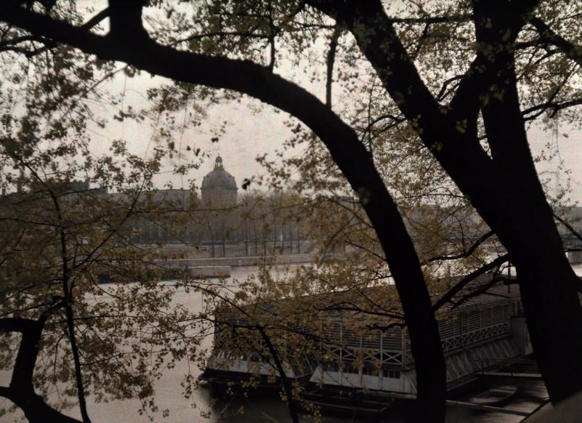 Вид сквозь деревья на противоположный берег Сены.