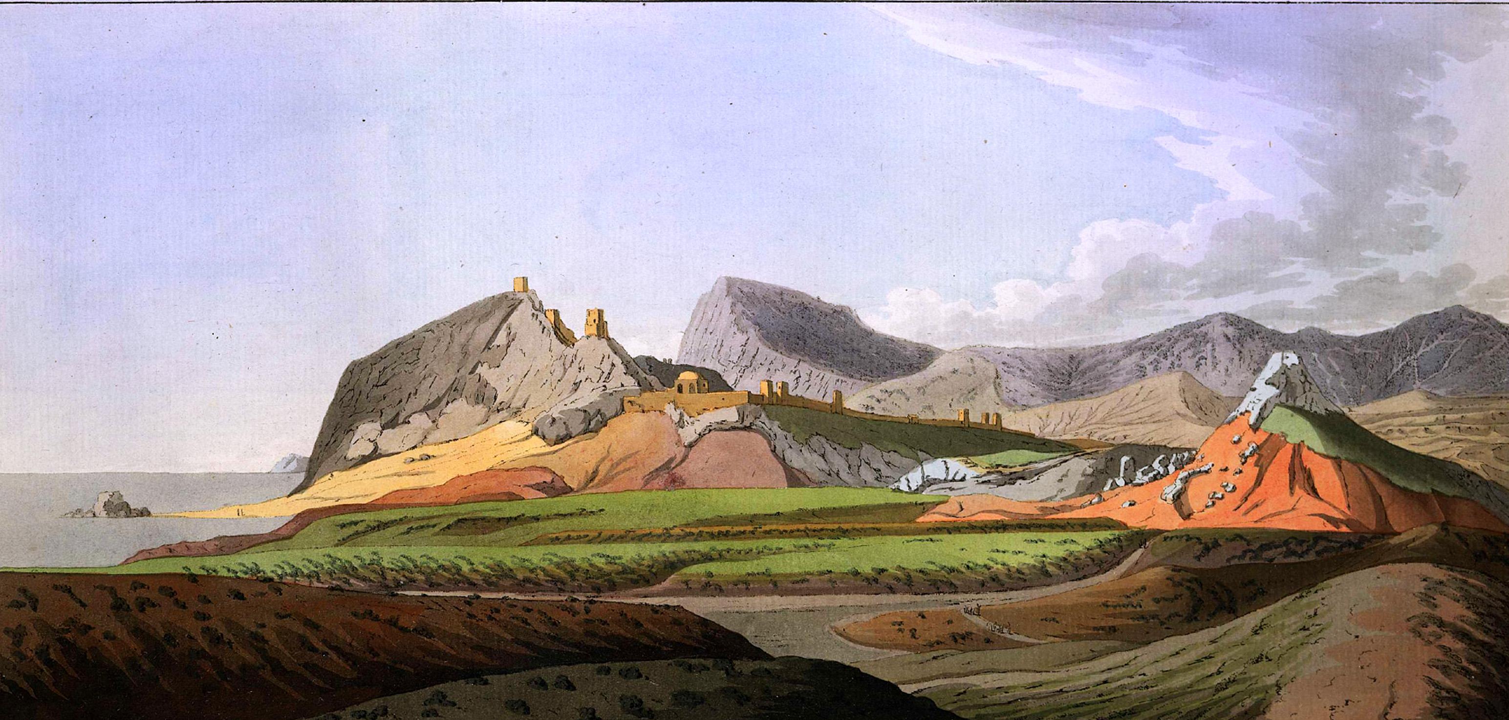 2-16. Старая генуэзская крепость Сольдайя, или Судаг, рисованная с восточной стороны долины, с лежащей позади скалой Куш-кая, состоящей из мраморовидного известняка и дающей понятие о горах этого рода в Тавриде. Крепость построена на такой же известковой