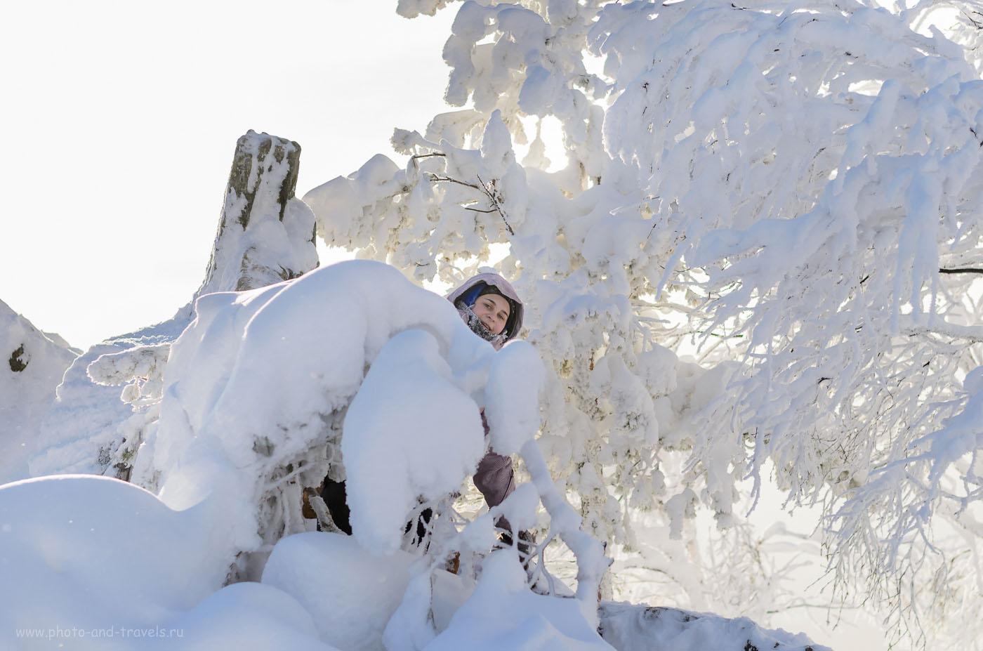 Фотография 8. На вершине Двуглавой сопки в парке Таганай зимой. Отзывы туристов о пеших походах на Урале. 1/4000, 2.5, 200, 50.