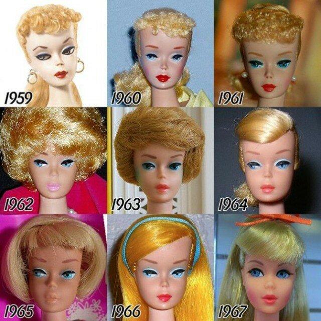 Как с годами менялось лицо куклы Барби