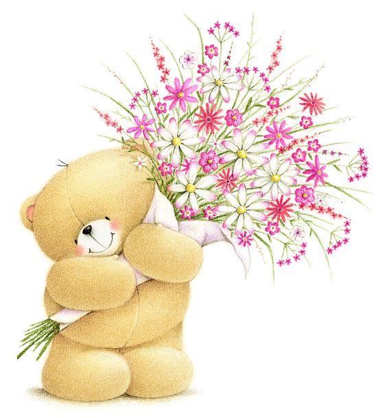 Открытка мишка с цветком
