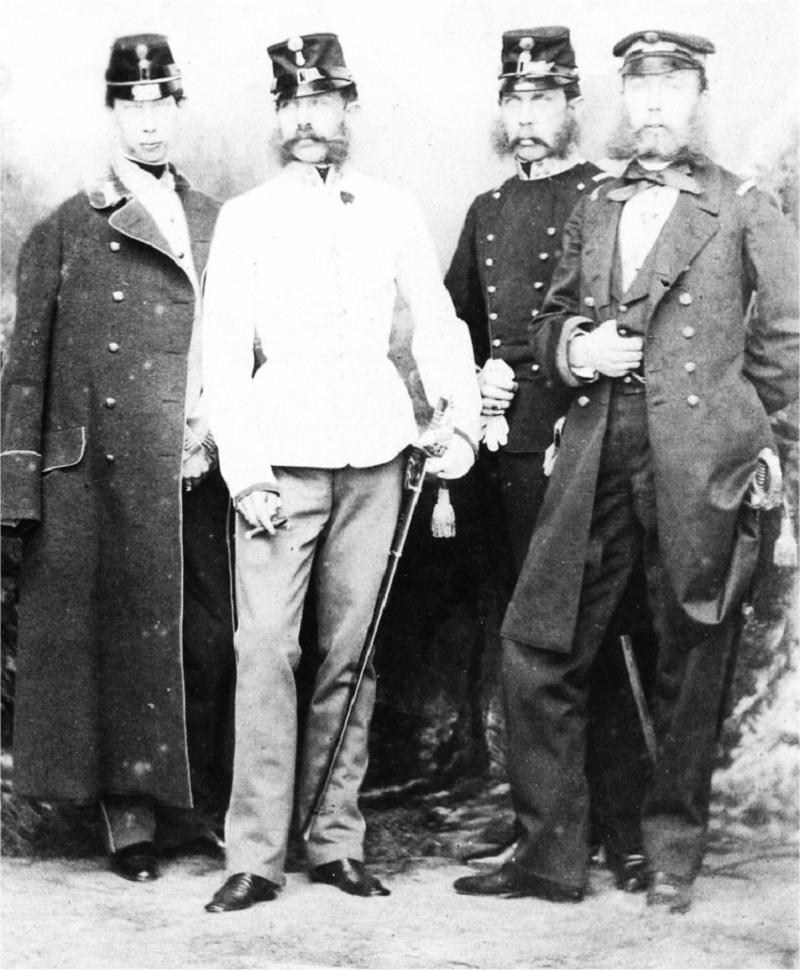 Emperor Francis Joseph I. of Austria-Hungary beside his brothers. From left to right: Archduke Ludwig Viktor of Austria, Kaiser Franz Josef, Archduke Karl Ludwig of Austria, Archduke Ferdinand Maximilian of Austria, Emperor of Mexico 1859