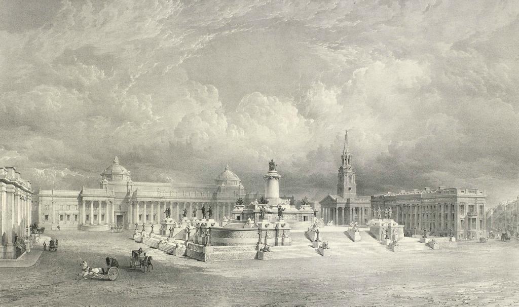Royal Collection Дизайн для национальной морской памятника предложил возвести на Трафальгарской площади.