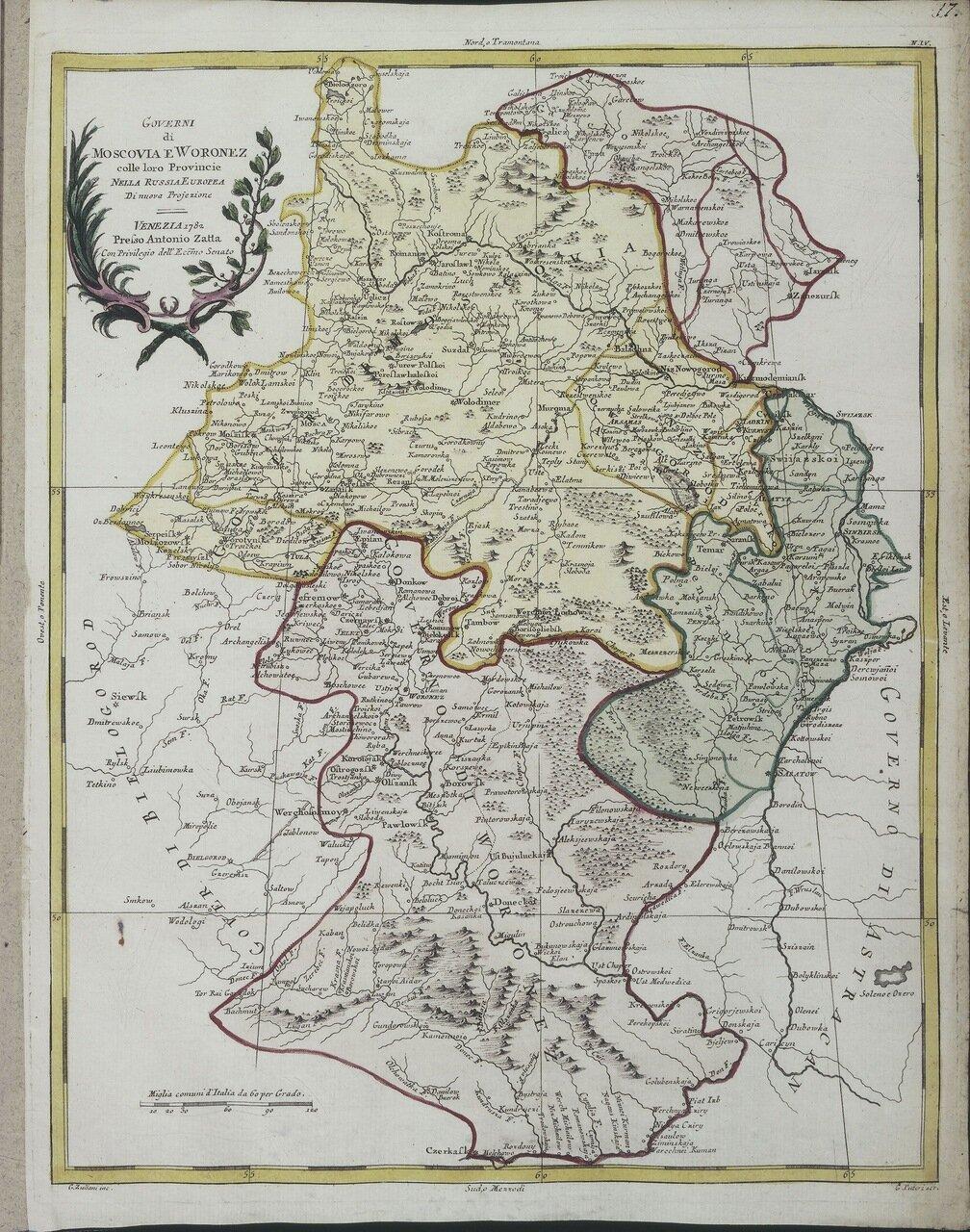 1782. Московская и Воронежская губернии в европейской части России