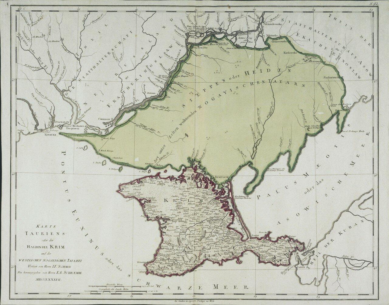 1787. Карта Тавриды или Крымского полуострова и западной ногайской Татарии