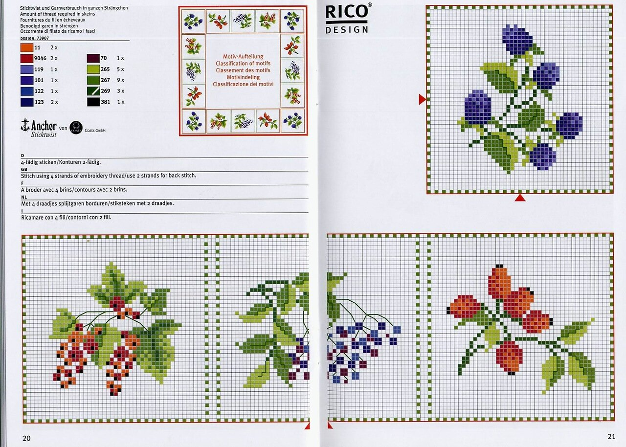 схема вышивка цветочные орнаменты крестом