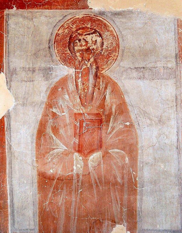 Святой Преподобный Никифор Катавадский (?). Фреска Феофана Грека в церкви Спаса на Ильине улице в Новгороде. 1378 год.